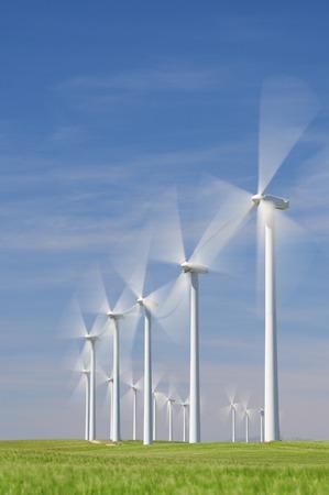 Windmills for electric power production, Zaragoza province, Aragon, Spain photo