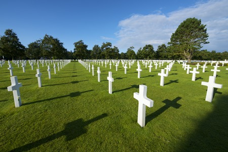 omaha: White crosses in American Cemetery, Coleville-sur-Mer, Omaha Beach, Normandy, France. Editorial