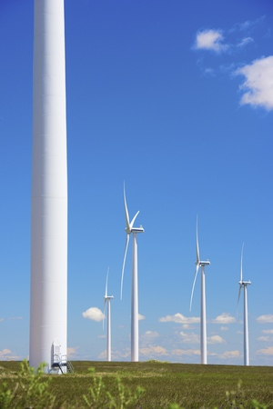 windturbines: windmills for  electric power production Stock Photo