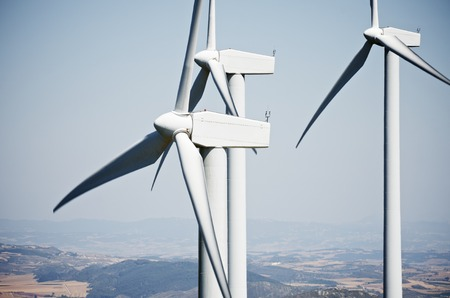 clean energy: windmills for clean energy production renewable electric, Aras, Navarre, Spain