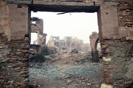 wojenne: Wieś Belchite zniszczony w zamachu bombowym w czasie hiszpańskiej wojny domowej, Zaragoza, Aragonia, Hiszpania.