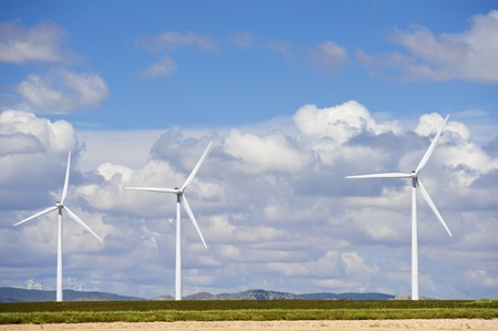 windfarms: windmills for  electric power production Stock Photo