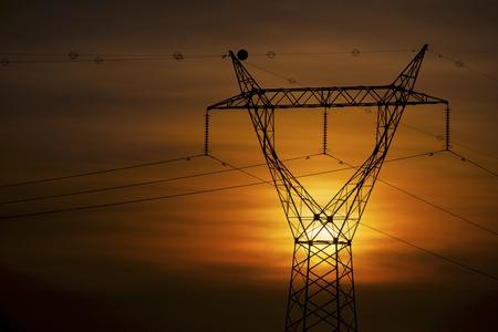 Power line in Zaragoza province, Aragon, Spain photo