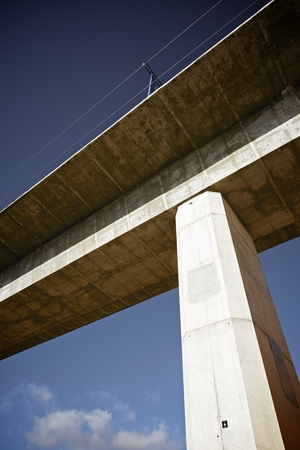 view of a high-speed viaduct in Alconchel de Ariza, Saragossa, Aragon, Spain. AVE Madrid Barcelona. photo