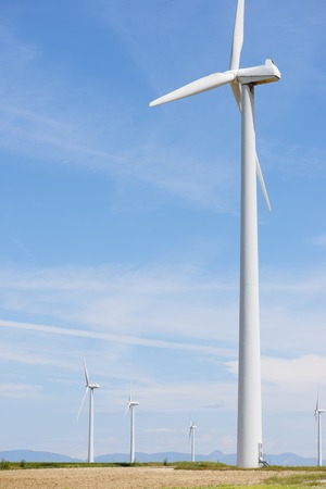 windturbines: Windmills for electric power production, Huesca province, Aragon, Spain Stock Photo