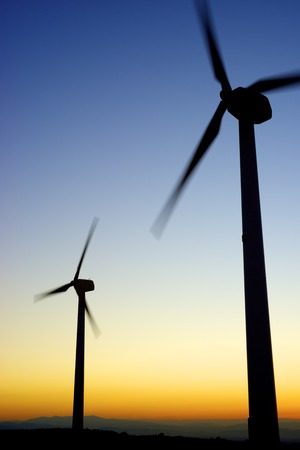 Windmills for electric power production, La Muela, Zaragoza Province, Aragon, Spain. photo