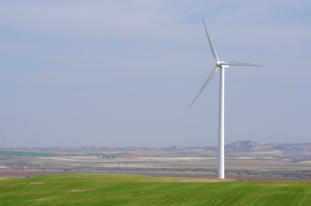 power production: Windmill for electric power production, Zaragoza province, Aragon, Spain