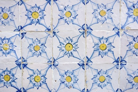 tiled wall: Background created by a tiled wall, Lisbon, Portugal.