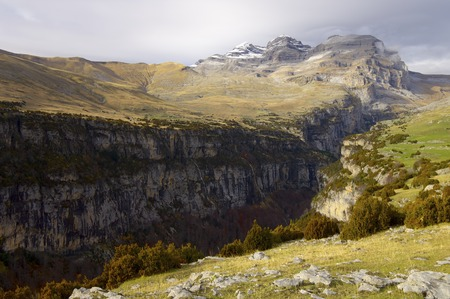 anisclo: View of the massif of Monte Perdido and Anisclo Valley in Ordesa National Park,Pyrenees, Huesca, Aragon, Spain