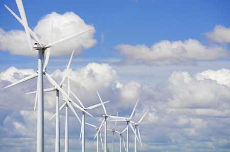 power production: windmills for  electric power production Stock Photo