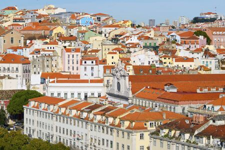 Aerial view of old town Lisbon, Portugal. photo