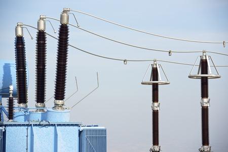 Closeup of an electrical substation elements, Zaragoza province, Aragon, Spain.