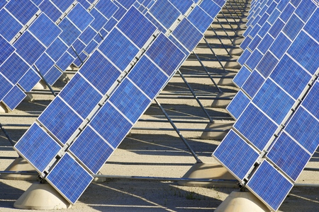 photocell: Photovoltaic panels for renewable electric production, Zaragoza province, Aragon, Spain.