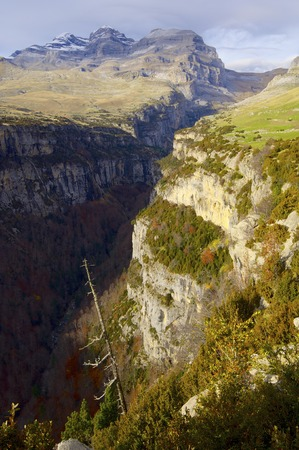 anisclo: View of the massif of Monte Perdido and Anisclo Valley in Ordesa National ParkPyrenees Huesca Aragon Spain