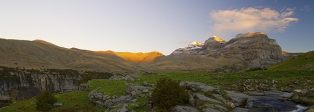 View of the massif of Monte Perdido in Ordesa National Park, Anisclo Canyon, Huesca, Aragon, Spain. Stock Photo