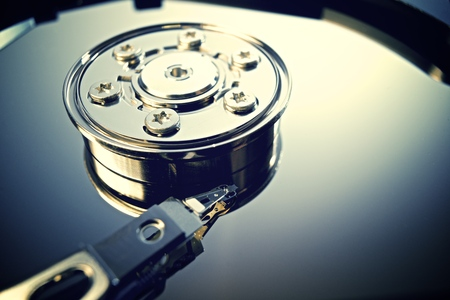 Closeup of an open computer hard drive Stock Photo