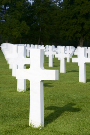 omaha: White crosses in American Cemetery, Coleville-sur-Mer, Omaha Beach, Normandy, France. Stock Photo