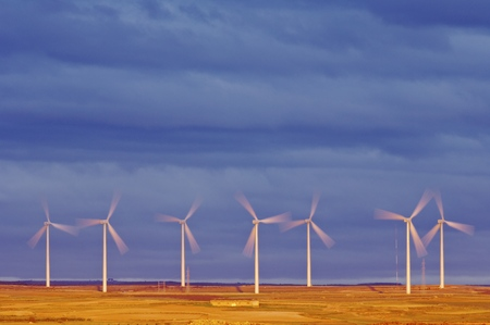 windmills for  electric power production, Zaragoza province, Aragon, Spain. photo