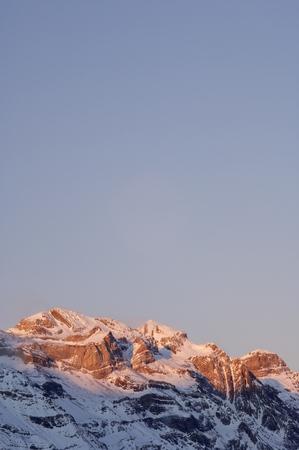 ordesa: Winter in Ordesa National Park, elevated peaks, left to rigth, are Sum de Ramond (3254 m.), Monte Perdido (3355 m.) and Cilindro de Marbore (3325 m.), Pyrenees, Huesca, Aragon, Spain.