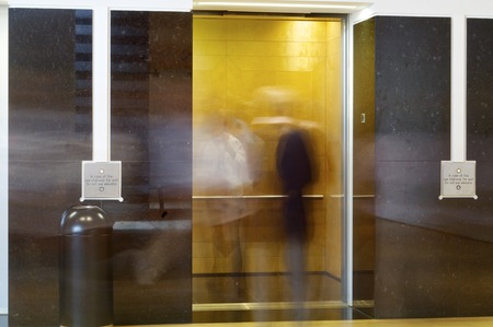 lift gate: Elevator in the interior of a building.