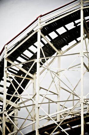coney: Cyclone Roller coaster in the Coney Island Astroland Amusement Park, New York, Usa. Stock Photo