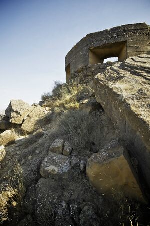 spanish civil war: bunker used in the Spanish Civil War, Tierz, Huesca, Aragon, Spain. Stock Photo