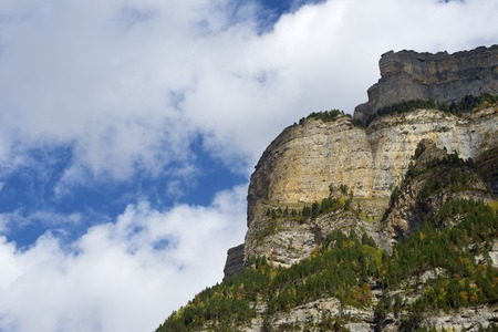 abrupt: Mountains in the Pyrenees, Ordesa Valley National Park, Aragon, Huesca, Spain.