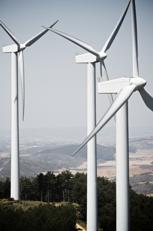 windturbines: windmills for clean energy production renewable electric, Aras, Navarre, Spain