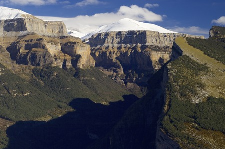 ordesa: Mondarruego peak in Ordesa National Park, Pyrenees, Huesca, Aragon, Spain.
