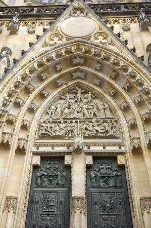 vitus: View of the main entrance of the church of St. Vitus, Prague, Czech Republic.