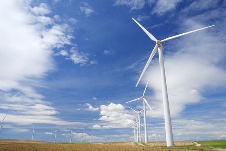 Windmills for electric power production, Pozuelo de Aragon, Zaragoza, Aragon, Spain. 写真素材