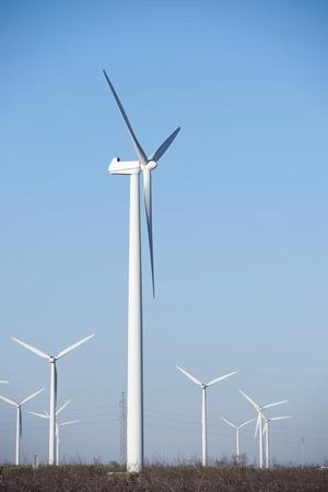 zaragoza: Windmilsl for electric power production, La Muela, Zaragoza Province, Aragon, Spain.