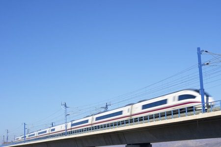 ave: view of a high-speed train crossing a viaduct in Zaragoza Province, Aragon, Spain. AVE Madrid Barcelona. Stock Photo