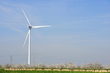 zaragoza: Windmills for electric power production, Zaragoza province, Aragon, Spain Stock Photo