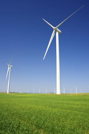 rural development: Windmills for electric power production, Zaragoza province, Aragon, Spain Stock Photo