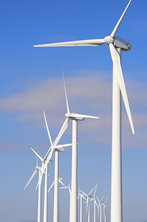 windfarms: Windmills for electric power production, Pozuelo de Aragon, Zaragoza, Aragon, Spain. Stock Photo