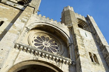 se: Close to the main facade of Se Cathedral, Lisbon, Portugal.
