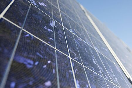 forefront: detail of a photovoltaic panel for renewable electric production