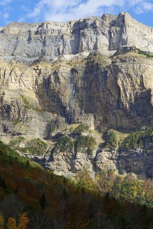 ordesa: La Fraucata Wall in the Pyrenees, Ordesa Valley National Park, Aragon, Huesca, Spain.