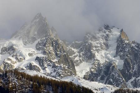 aiguille: Aiguille du Blaitiere, to the left, 3522 m, and Aiguille du Plan, 3673 m, Aiguilles du Chamonix, Mont Blanc Massif, Alps, Chamonix, France Stock Photo