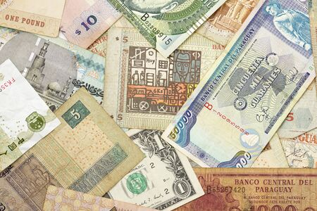 different countries: Group banknotes of different countries.