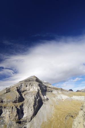 anisclo: View of Monte Perdido Massif in Ordesa National Park, Pyrenees, Huesca, Aragon, Spain