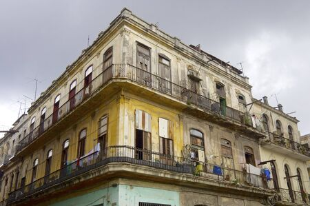 dilapidated: Dilapidated building in the city of Havana, Cuba.