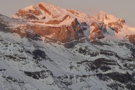 perdido: Winter in Ordesa National Park, elevated peaks, left to rigth, are Sum de Ramond (3254 m.) and Monte Perdido (3355 m.), Pyrenees, Huesca, Aragon, Spain.