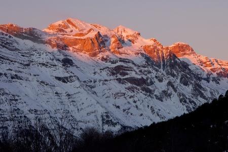 perdido: Winter in Ordesa National Park, elevated peaks, left to rigth, are Sum de Ramond (3254 m.), Monte Perdido (3355 m.) and Cilindro de Marbore (3325 m.), Pyrenees, Huesca, Aragon, Spain.