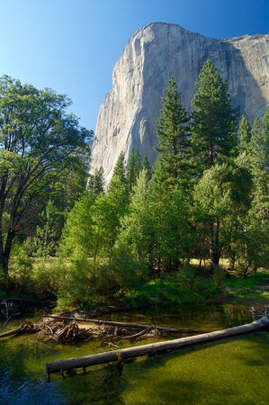 merced: Capitan view and Merced river in Yosemite Valley, California, United States.