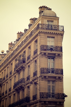 rue: View of the facade of a typical building in the Rue Lafayette, Paris, France.