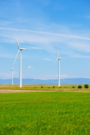 power production: Windmills for electric power production, Huesca province, Aragon, Spain Stock Photo