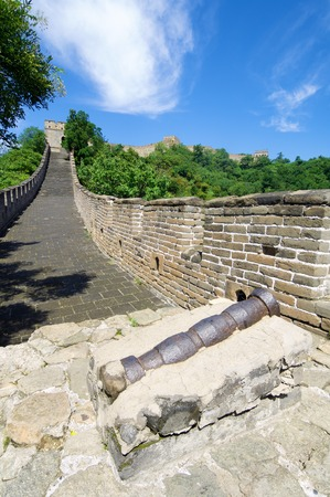 simatai: cannon in the Simatai Great Wall of China, Beijing, China Stock Photo