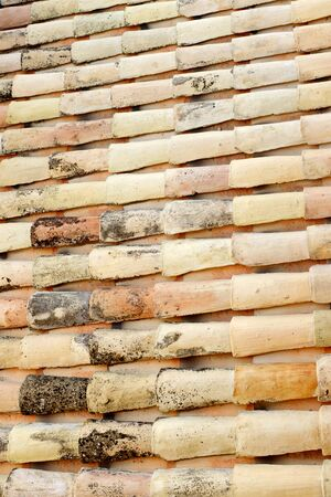 spanish village: Old roof tiles background in a spanish village, Spain. Stock Photo